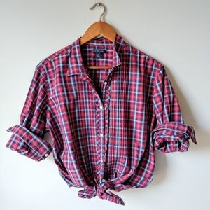 Gap ▪ Ruffled Red And Blue Plaid Top